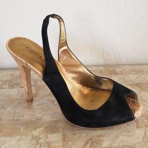 Guess Black Velvet Heels